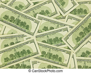 A Pile of Hundred Dollar Bills Face Down as a Money Background