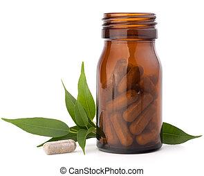 herbario, droga, cápsulas, marrón, vidrio,...
