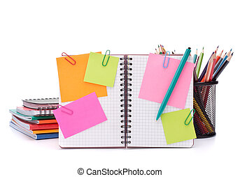 Blank checked notebook with notice papers isolated on white...