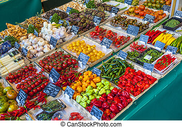 fresh vegetables and fruits offered at the victualien market...