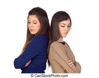 Two friends angry for some reason isolated on white...