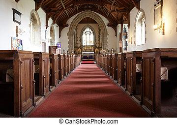 Church interior - A red carpet up a church aisle
