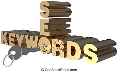 Keywords SEO search key words lock - Keywords SEO key open...