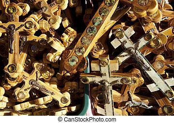 Crosses Background - A pile of crosses depicting Jesus...