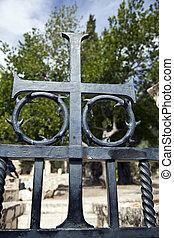 全部, 他的,  christ, 預先,  started, 那裡, 金屬, 耶穌, 裝飾, 在十字架上釘死, 痛苦, 部份, 地方, 耶穌受難像, 背景, 教堂, 門, 國家,  Gethsemane