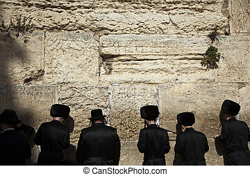 Seeking God - Six orthodox Jewish young adult pressed in...