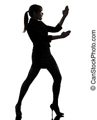 business woman karate self defense silhouette - one...