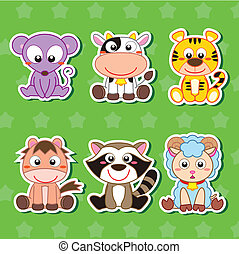 Six Cute Cartoon Animal Stickers - six cute cartoon animal...