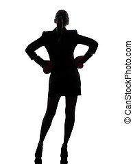business woman ready fighting boxing gloves silhouette - one...