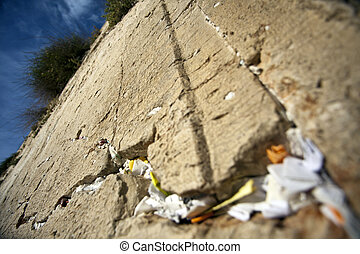 God's Mailbox - A closeup of the Wailing Wall in the old...