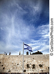 Israel Flag & The Wailing Wall - Israel flag fluttering in...