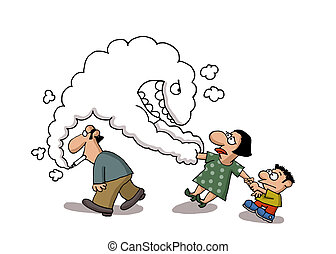 Passive smoking - Smoke comes out from a man's cigarette...