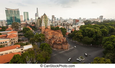 Top view of Saigon Notre-Dame Basilica - Cathedral