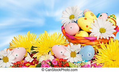 Easter eggs. - Beautiful background with Easter eggs....