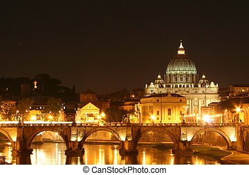 St Peters Basilica - Night shot of the vatican