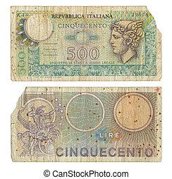 Discontinued, italiano, 500, lire, dinero, nota