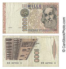 Discontinued, italiano, 1000, lire, dinero, nota