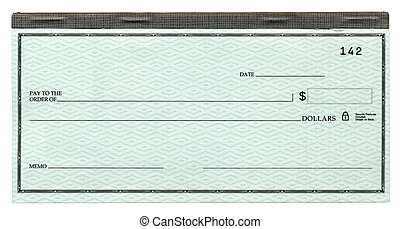 Blank Cheque - A blank banking cheque, attached to its...