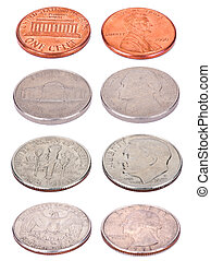 American Coins - High Angle - Both sides of USA coins, shot...