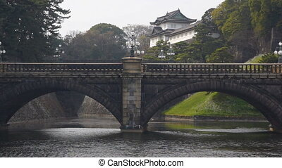 Imperial Palace in Tokyo - Panoramic view with bridge