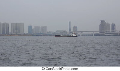 Tokyo Harbor - panoramic view with boat