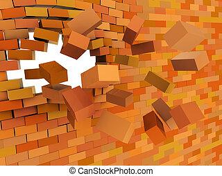 brick wall crashing - 3d illustration of broken brick wall