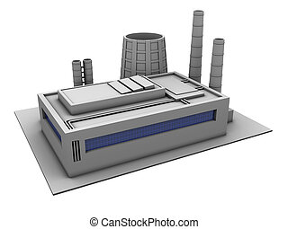 factory - 3d illustration of single factory building, over...