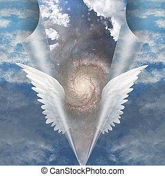 engel, Vleugels, trekken, apart, naad, mortals, onthullen