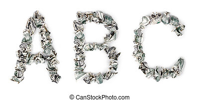 Crimped Cash ABC - The letters 'A', 'B' and 'C' made out of...