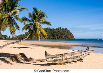 Tropical beach landscape - Beautiful tropical sandy beach,...