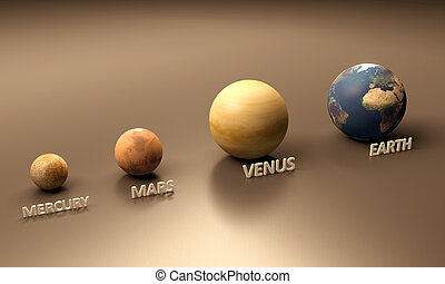 Planets Mercury Mars Venus and Earth - A rendered...