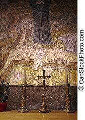 poste, crucifixión, mosaico, -, iglesia, santo,...