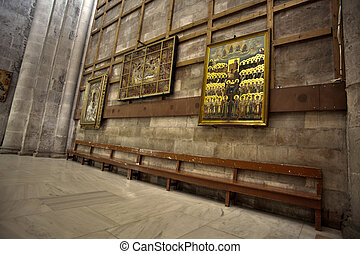 Holy Sepulchre Basilica Bench - A bench and Christian...