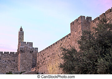 Tower of David at Dusk - The Tower of David is an ancient...