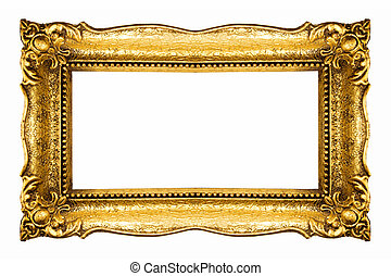 Frame in Gold - Golden Frame isolated on white background,...
