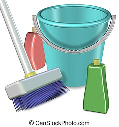 Cleaning equipment - Broom and plastic bucket with cleaning...