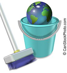 Earth in plastic bucket - Broom and plastic bucket with...