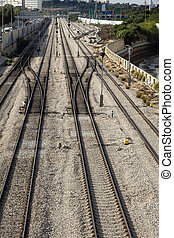 Rush Hour Railroad - View at the empty railroad between the...