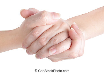 clasped hands on white background (isolated, close up)