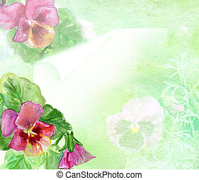 watercolors flowerses Viola background for text