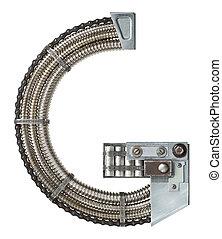 Metal letter - Industrial metal alphabet letter G