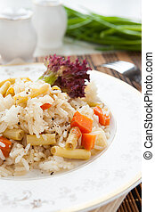 meatless risotto with vegetable mix, closeup