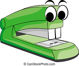 stapler animal - vector illustratio of a green stapler...