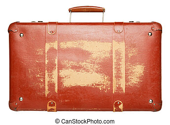 Suitcase - Vintage red suitcase isolated on white background