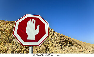 Stop Sign in the Desert - Stop sign on the background of a...
