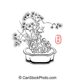 Bonsai art - Ink styled drawing of bonsai tree with iris...