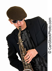 Music performer, saxophone - Handsome alternative dressed...