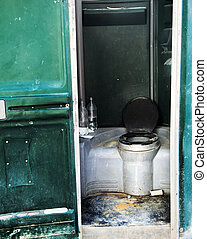 Construction Site Chemical Toilet - Dirty and neglected...
