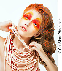 Expression. Face of Bright Red Hair Artistic Woman. Art Concept