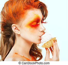 Coloring. Creativity. Profile of Red-haired Woman eating a Cake with Cream. Blush